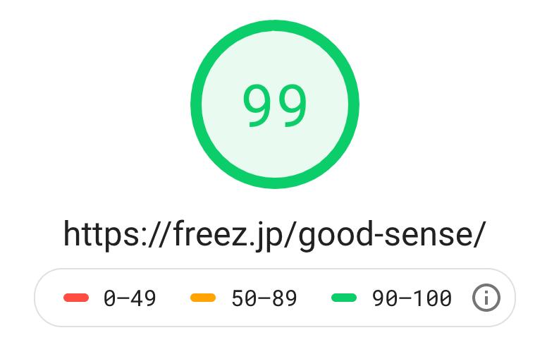 Googleのスピードチェック結果 PC表示99点の画像